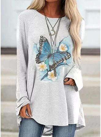 Floral Round Neck Long Sleeves Sweatshirt