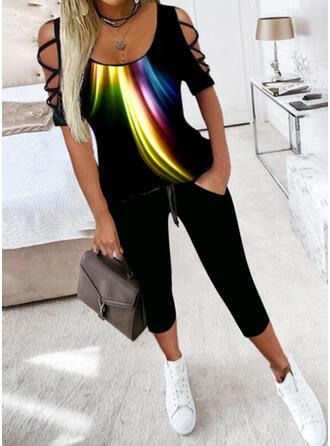 Print Casual Plus Size Blouse & Pants Two-Piece Outfits Set