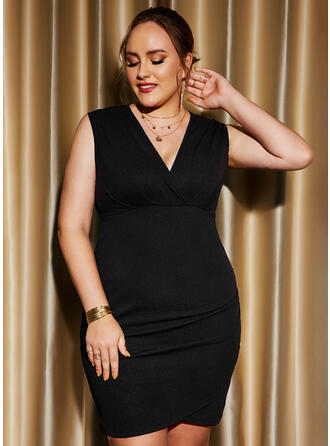 Solid Sleeveless Sheath Above Knee Little Black/Party/Plus Size Dresses