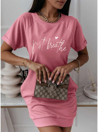 Print/Heart/Letter Short Sleeves Bodycon Above Knee Casual T-shirt Dresses