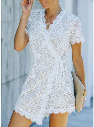 Solid Lace V-Neck Short Sleeves Casual Elegant Romper
