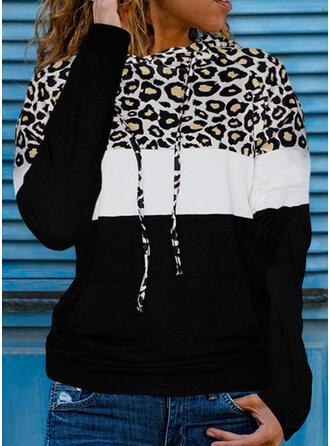 Color Block Leopard Round Neck Long Sleeves Hoodie