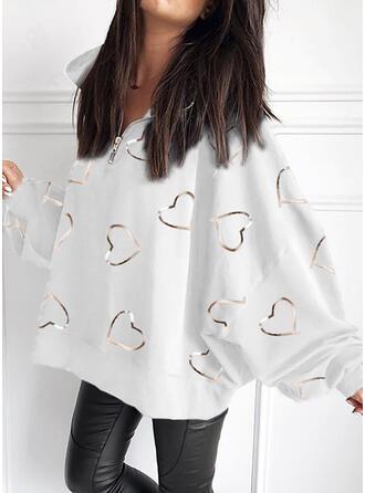 Print Heart V-Neck Long Sleeves Sweatshirt