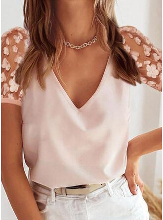 Solid Floral V-Neck Short Sleeves Elegant Blouses