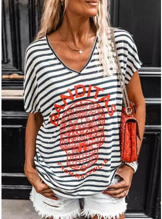 Print Striped Letter V-Neck Short Sleeves T-shirts