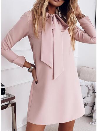 Solid Long Sleeves Shift Above Knee Elegant Tunic Dresses