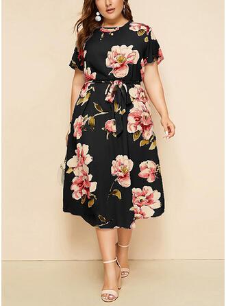 Plus Size Floral Print Short Sleeves A-line Midi Casual Elegant Dress