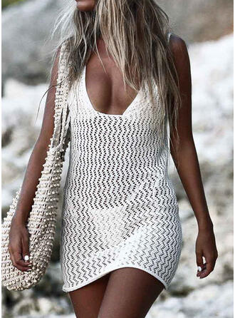 Solid Strap U-Neck Casual Vacation Cover-ups Swimsuits