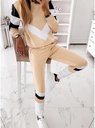 Colorido Desportivo Casual Tamanho positivo camisolas & Roupas de Duas Peças Set ()
