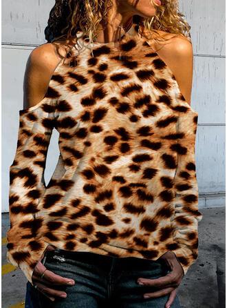 Leopardo Ombro Frio Manga Comprida Camisetas