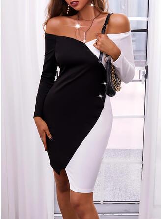 Color Block Long Sleeves Bodycon Knee Length Elegant Dresses