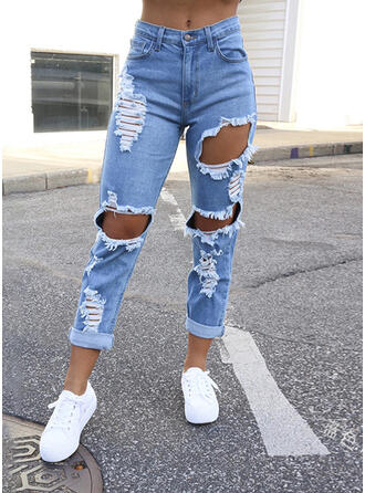 Shirred Ripped Long Casual Sexy Denim & Jeans