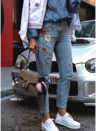 Fleurie Imprimé Treillis Longue Décontractée Broderie Jeans