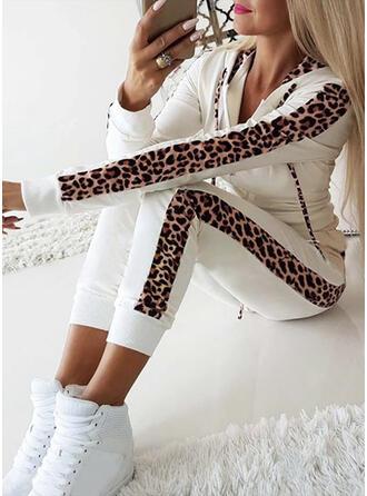 Hooded Long Sleeves Leopard Leopard Top & Pants Sets