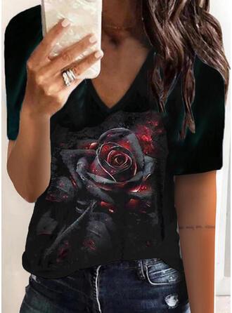Fleurie Imprimé Col V Manches Courtes T-shirts