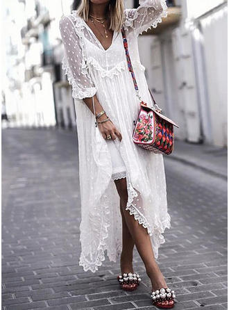 Lace/Solid 3/4 Sleeves Shift Boho/Vacation Maxi Dresses