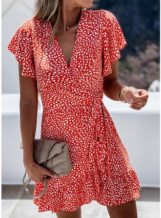 Print Short Sleeves Knee Length Casual/Elegant Wrap/Skater Dresses