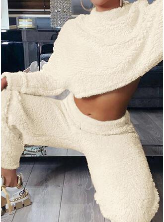 Sólido Casual camisolas & Roupas de Duas Peças Set ()