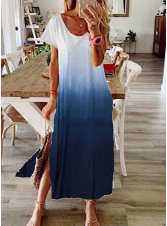 Gradient Short Sleeves Shift T-shirt Casual/Vacation Maxi Dresses