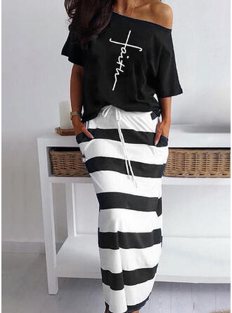 Letter Striped Print Casual Plus Size Tee & Two-Piece Outfits Set