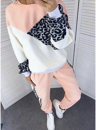 Leopardo Colorido Desportivo Casual Tamanho positivo camisolas & Roupas de Duas Peças Set ()
