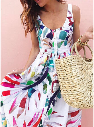 Print Sleeveless A-line Skater Casual/Vacation Midi Dresses