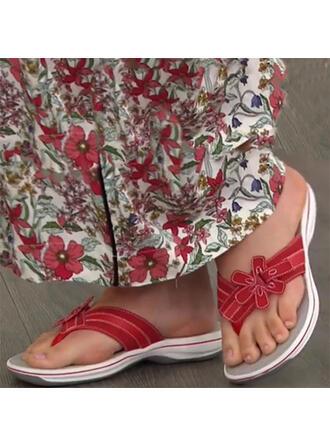 Femmes Similicuir Talon plat Sandales À bout ouvert Tongs Chaussons avec Une fleur chaussures