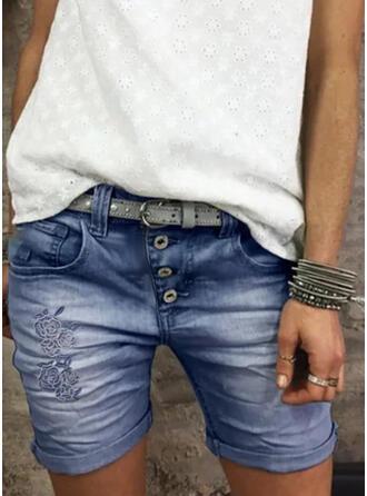 Acima do joelho Vintage shirred Calças Calção Jeans