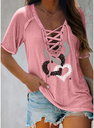 Print Beaded Heart Lace-up V-Neck Short Sleeves Casual Blouses