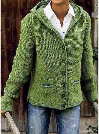 Solid Chunky knit Pocket Hooded Casual Sweaters