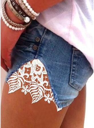 Couleur Unie Coton Dentelle Au-dessus du genou Décontractée Poche Boutons Pantalon Short Jeans