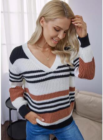 Trozos de color raya Cuello en V Casual Suéteres