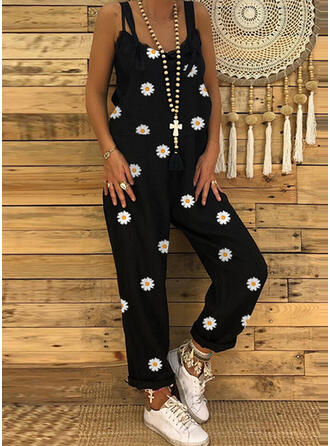 Floral Print Strap Sleeveless Casual Jumpsuit