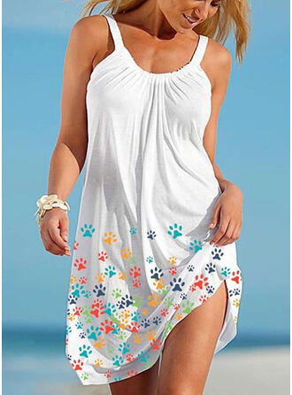 Animal Print Sleeveless Shift Above Knee Casual/Vacation Tank Dresses