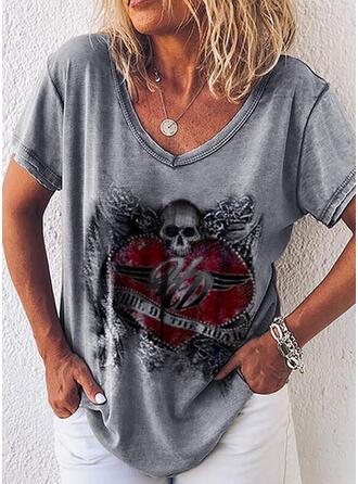 Cœur Imprimé Letter Col V Manches Courtes T-shirts