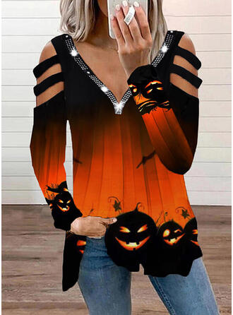 Halloween Imprimé Accueil froid Manches Longues T-shirts