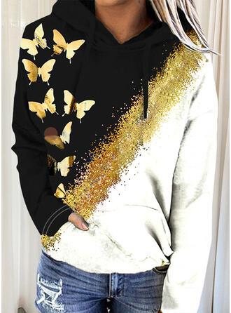 papillon Capuche Manches Longues Sweat-shirt