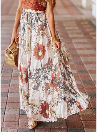 Polyester Print Floral Floor Length A-Line Skirts