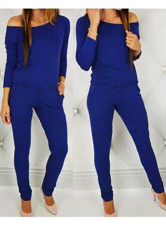 One Shoulder Long Sleeves Solid Color Fashionable Top & Pants Sets