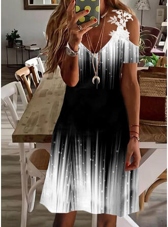 Print/Gradient Lace Short Sleeves Cold Shoulder Sleeve Shift Above Knee Casual/Vacation Tunic Dresses