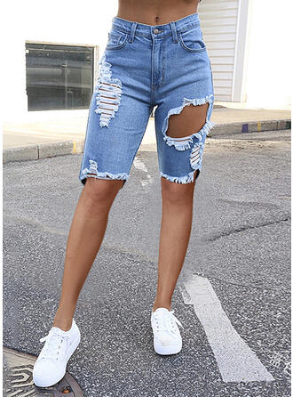 Solid Denim Knee-length Casual Plus Size Pocket Ripped Shorts Denim & Jeans