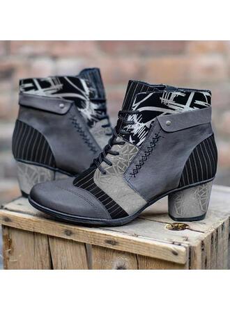 Mulheres PU Salto robusto Botas Bota no tornozelo Low Top Saltos Toe rodada com Aplicação de renda Estampa floral sapatos