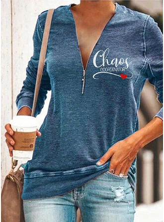 Print Figure Heart V-Neck Long Sleeves Sweatshirt