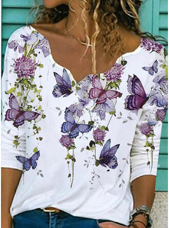 Floral Print Butterfly V-Neck Long Sleeves T-shirts