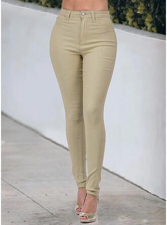 Sólido Algodão Grandes Casual Tamanho positivo Bolso Button Jeans
