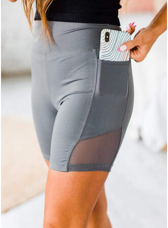 Solid Pockets Yoga Stretchy Shorts