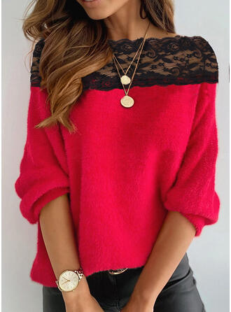 Lace Round Neck Casual Sweaters