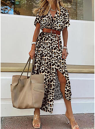 Leopardo Manga Corta Vestido línea A Patinador Casual/Vacaciones Midi Vestidos