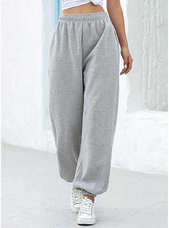 Pockets Shirred Long Casual Sporty Pants