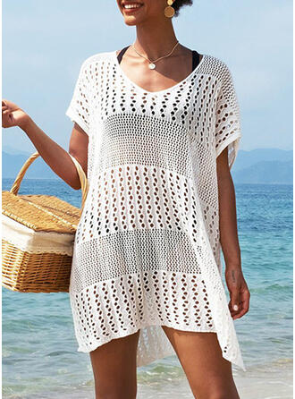Solid U-Neck Casual Vacation Cover-ups Swimsuits